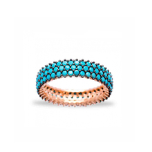 Fashionable Turkish Pave Stone Finger Rings 925 Sterling Silver Turquoise Ring Jewelry For Women