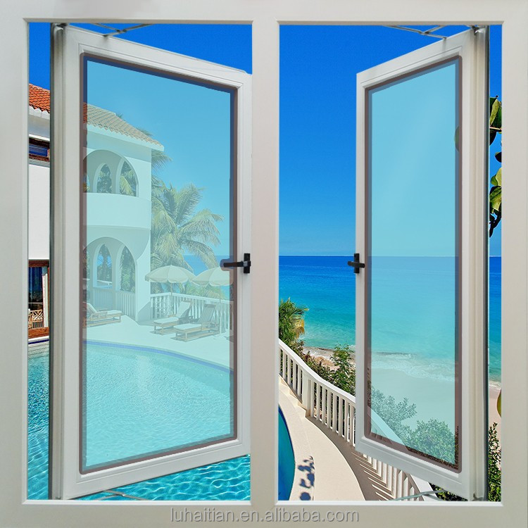 Customied double glass PVC casement window with ISO,CE,SGS certification