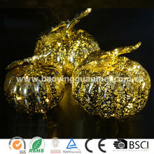 Wholesale gold halloween decoration glass pumpkin with warm white led string light