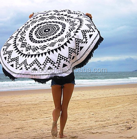 100% Cotton Printed Beach Towel With Tassel,Reactive Printing Bath Towel in stock