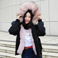 CX-G-P-19E European Style Bomber Fox Fur Long Coat With Raccoon Collar For Women