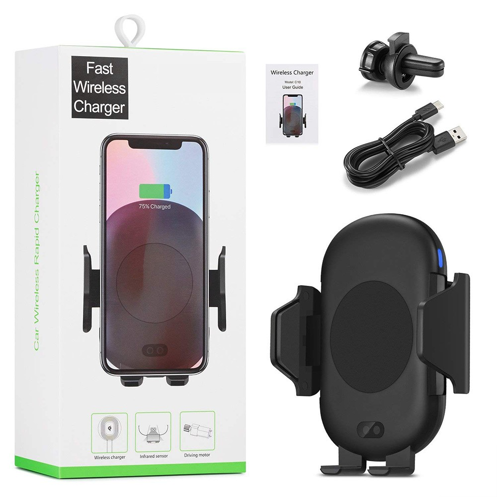 Trending products 2019 <strong>C10</strong> qi standard infrared induction car wireless charging for phone X 8 Plus Samsung S8 S9 Plus