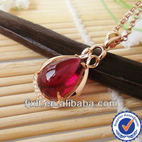 Hot Sale Natural Tourmaline 18K Gold Diamond Red Gemstone Pendant