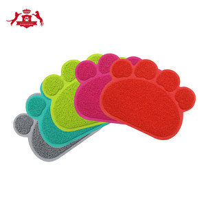 Washable waterproof paw shaped pvc cat litter mat