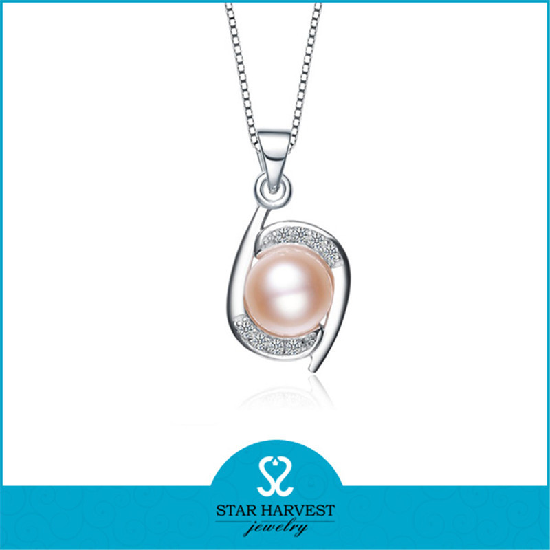 Quality 925 Sterling Silver Charms Engagement Fresh Water Real Pearl Necklace Price