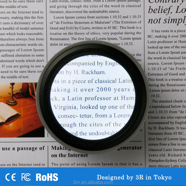Hand free magnifying glass with LED