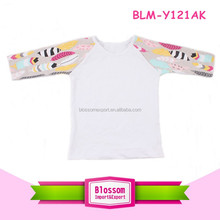 Top quality feather printed customzied 3/4 raglan sleeve baseball raglan tee