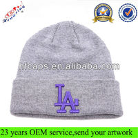 Winter Embroidery 100% Acrylic Custom Knitted Beanie Hat / Benaie Hat Wholesale In Stocks