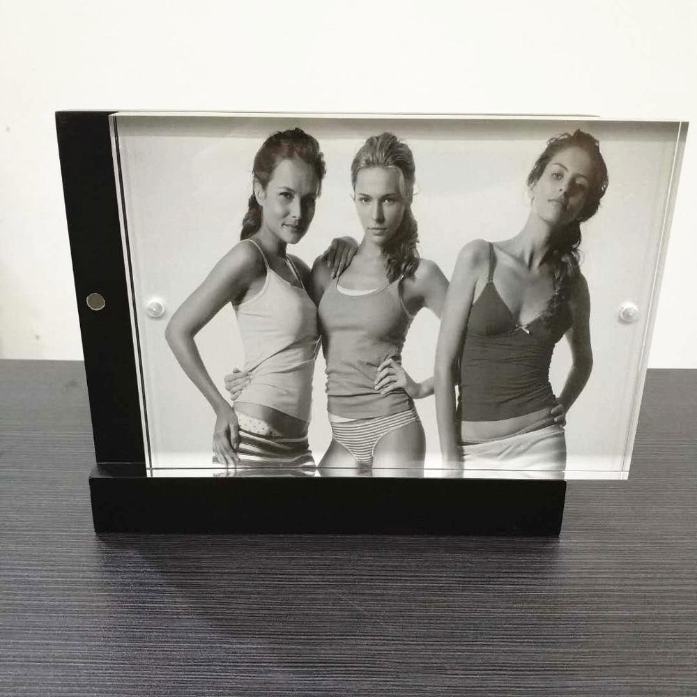 5x7 Elegant acrylic wooden magnetic photo frame acrylic picture display frame