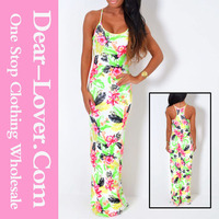 Wholesale western party wear Neon Tropical Print Maxi Dress