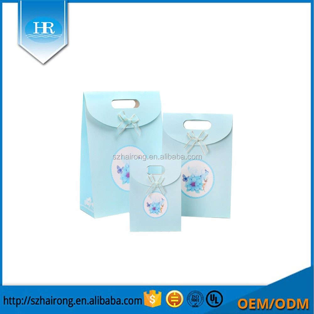Wholesale cheap printing colored logo small paper gift bags with handles