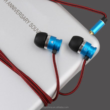 New product 3.5mm MIC braided rope textile cover cable mobile in-ear headphone for samsung