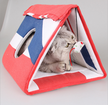 Triangle foldable pet cat cave cat house with sisal scracther and toy cat kennel