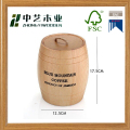 Eco-friendly varnish decorative oak wooden tea storage barrel