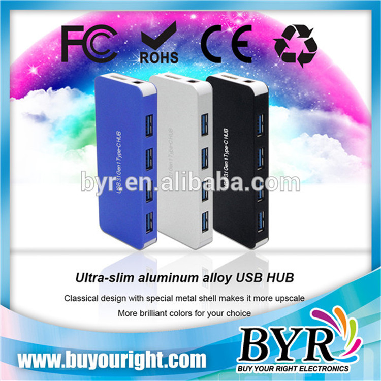Top Quality Type-C 4 Port USB 3.1 Hub With Power DC Hole