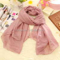 Fashionable polyester voile pure color long scarf shawl muslim hijab scarf women Wholesale SX-8060
