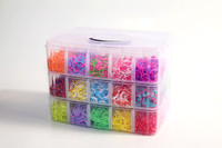 New Designs DIY Colorful Rainbow Silicone Loom Bands For Christmas Gifts, Cheap Crazy Loom Bands Kits Plastic Box