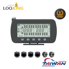 "truck tpms tire pressure monitoring system 6 to 46 wheels ""external"" sensor solar charging display for trailers and containers"