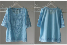voile design blouse with short sleeve, borderie anglaise transparent short casual blouse