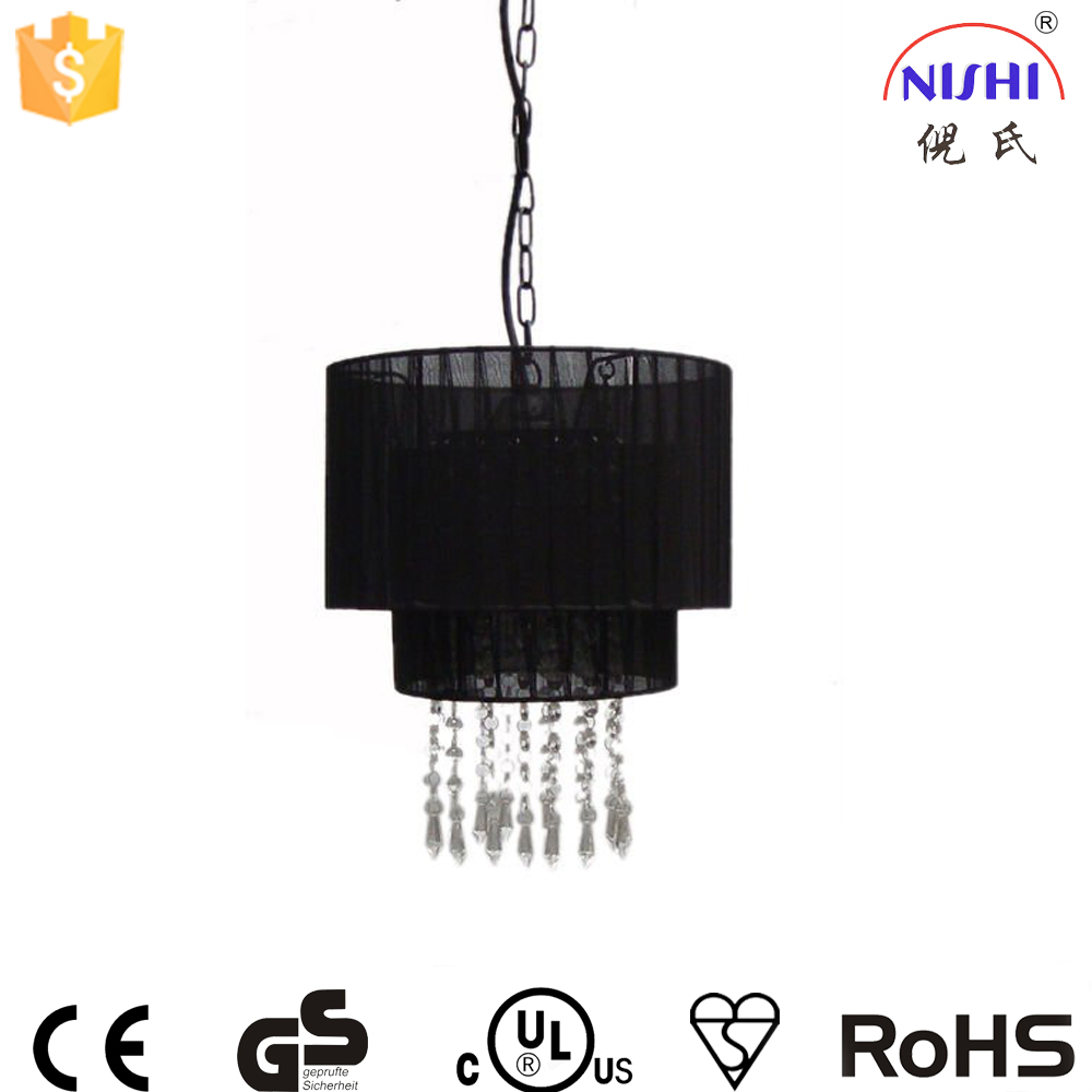 fabric pendant light modern bedroom furniture,non electric light black pendant light with CE certification NS-120091D