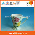 Ceramic coffee cup with flower design