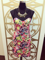 2015 Summer sleeveless hot sexy floral print lace top girl dress