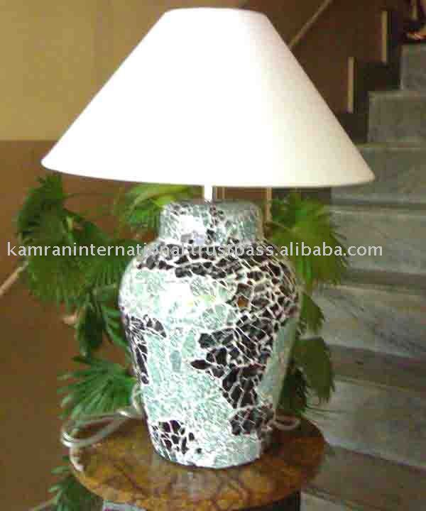 Mosaic table lamp with printed fabric shade