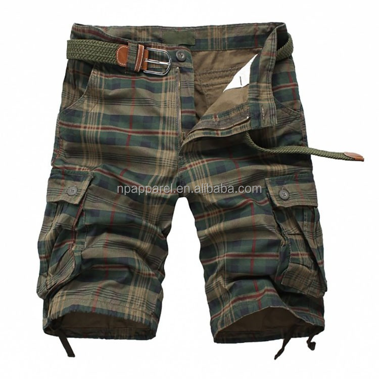 Custom designed cotton twill checked print garment washed cargo shorts with belt