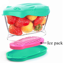 Best quality 900ML Olive Green Plastic Tritan Fruit Salad Container with Ice Pack