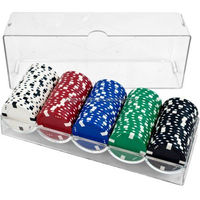 Custom Trademark Poker Clear Acrylic Chip Trays and Covers Set of 10 Chip Tray