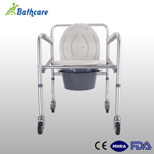 Aluminum Flexible Nylon Backrest Patients Use Toilet Commode Chair With Wheels