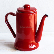 1.1L enamel coffee pot with lid