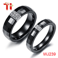 Fashion jewelry,Black Ceramic Ring with stone Inlay - 6 mm - 10 mm, Black tungsten ring