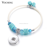 10pcs/lot Wholesale Vocheng Natural Stone Charm Bangle Fit 18mm Snap Button NN-372*10 Free Shipping
