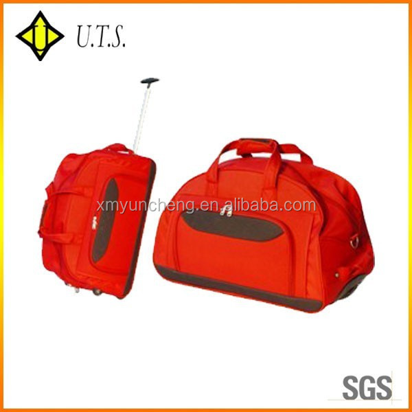 sport travelling trolley duffle bag red color