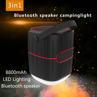 8800mah water-proof ip65 multinational power bank docking station with camping lamp and bluetooth speaker