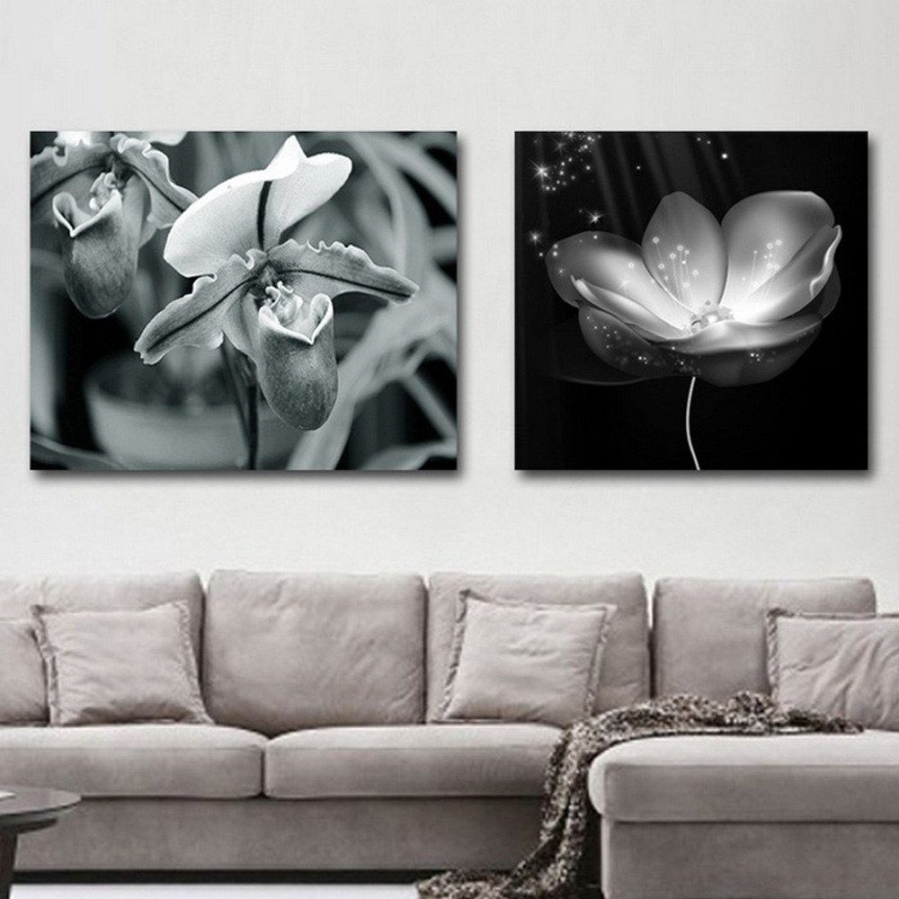 Cheap Modern Abstract Black And White Flower Painting Wall Pictures