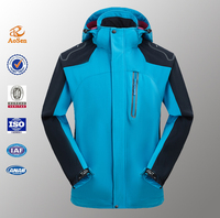 wholesale custom blank softshell jacket, blue varsity jacket