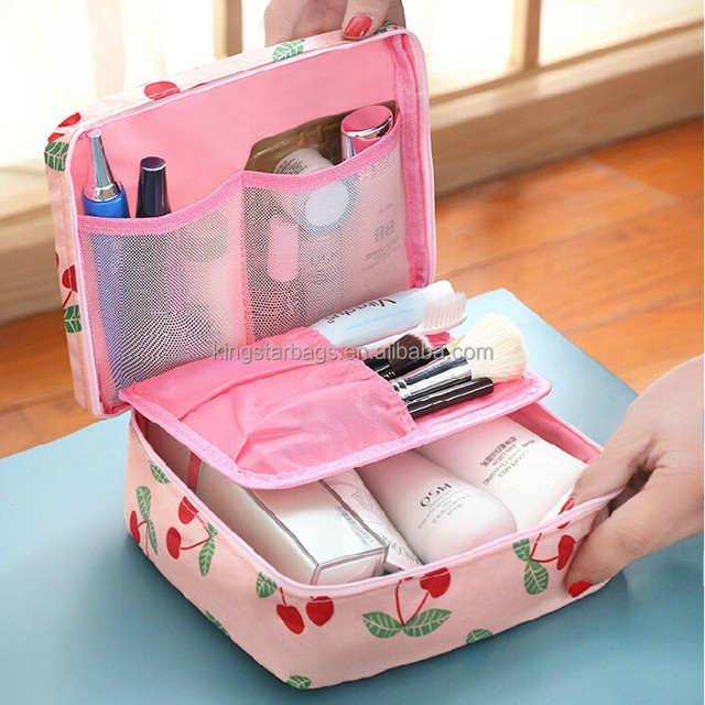 Ladies Handled Cherry Cosmetic Bag Organzier