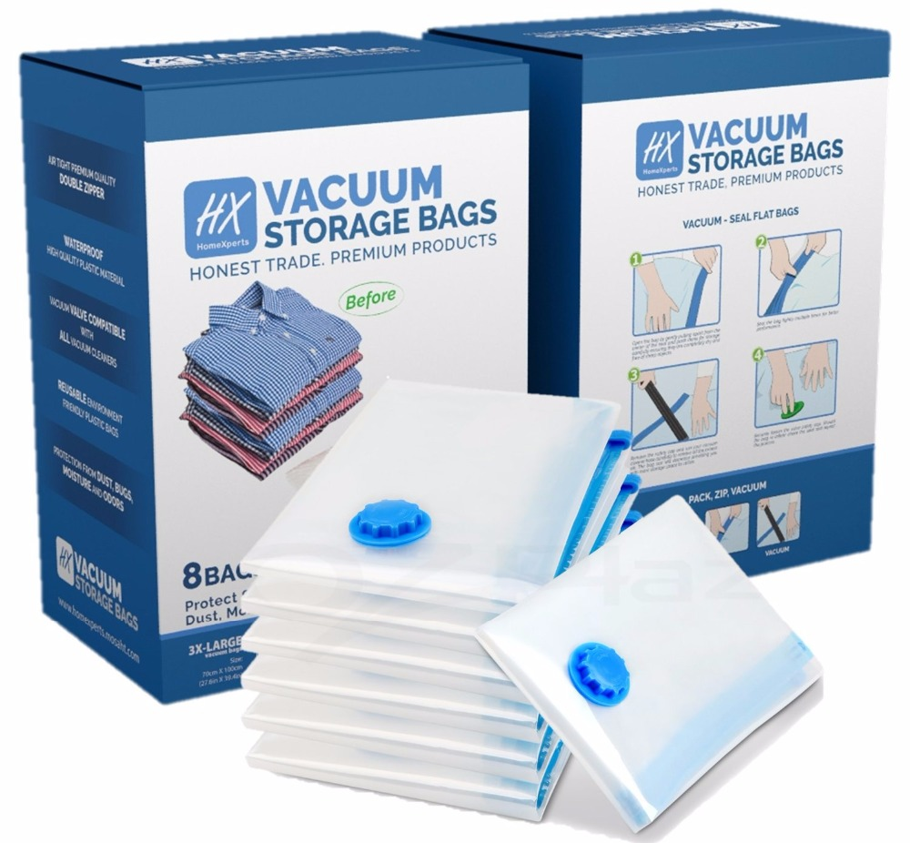8Pack Traveling Vacuum Storage Bag in PA and PE for Clothing or Bedding Space Saver