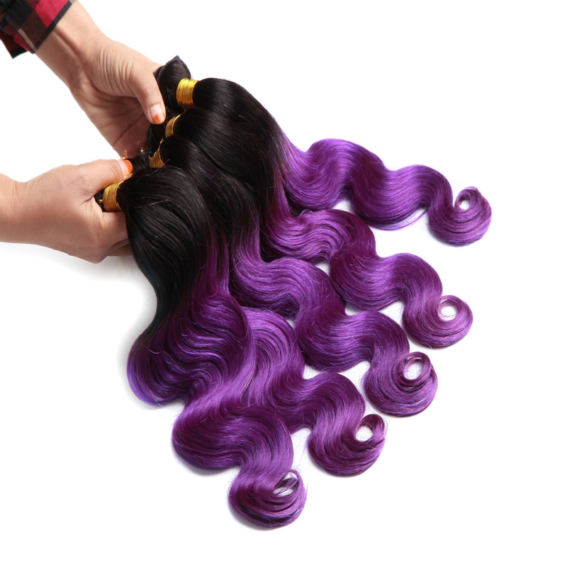 Amazon.com hot sale ombre color hair extensions color 1b/purple virgin peruvian wave hair bundles