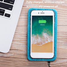 2018 New phone charging accesories PU leather portable wireless pad QI universal wireless charger for mobile phone