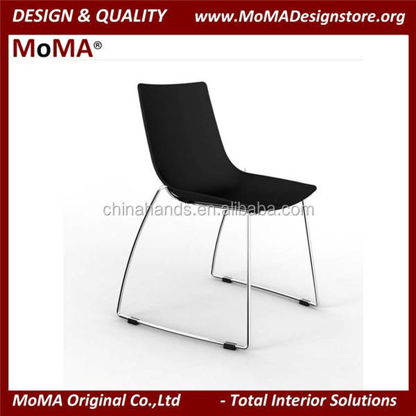 MA-C171-2 Simple Design Black Plastic Chair Waiting Chair With Metal Leg
