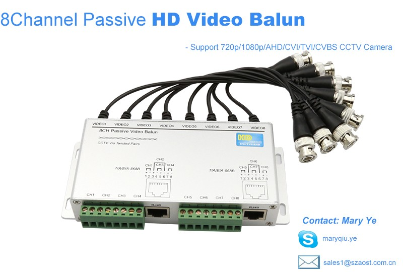 AOST 8 channels passive HD video balun transmitter for AHD/TVI/CVI Security camera