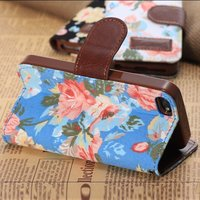 Flower Pattern PU Leather Case , new arrival mobile phone covers Iphone5s,5c,4c