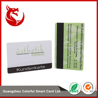 Guangzhou fashional designed advertising pvc vip card with magnetic string