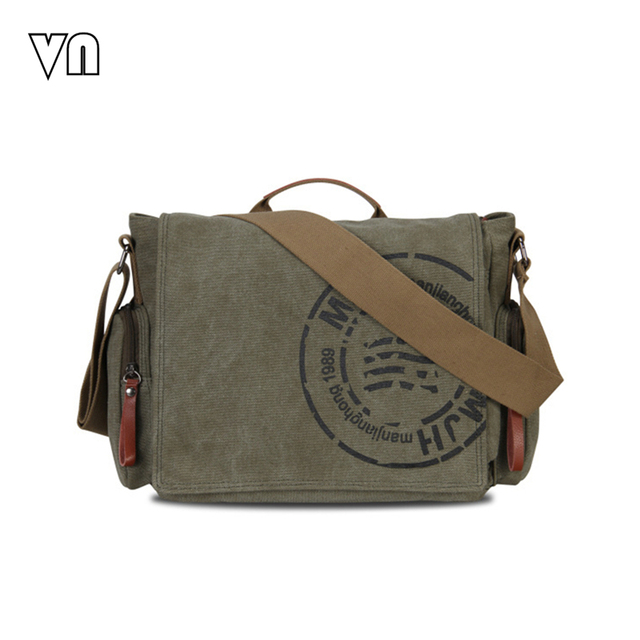 2016 VN Vintage Men's Messenger Bags Canvas Shoulder Hand Bag Fashion Men Business Crossbody Bag Printing Brief Travel Handbag