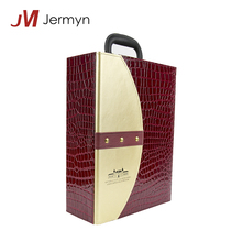 Luxury Handmade Custom Size Red Leather Wine Gift Box Packing