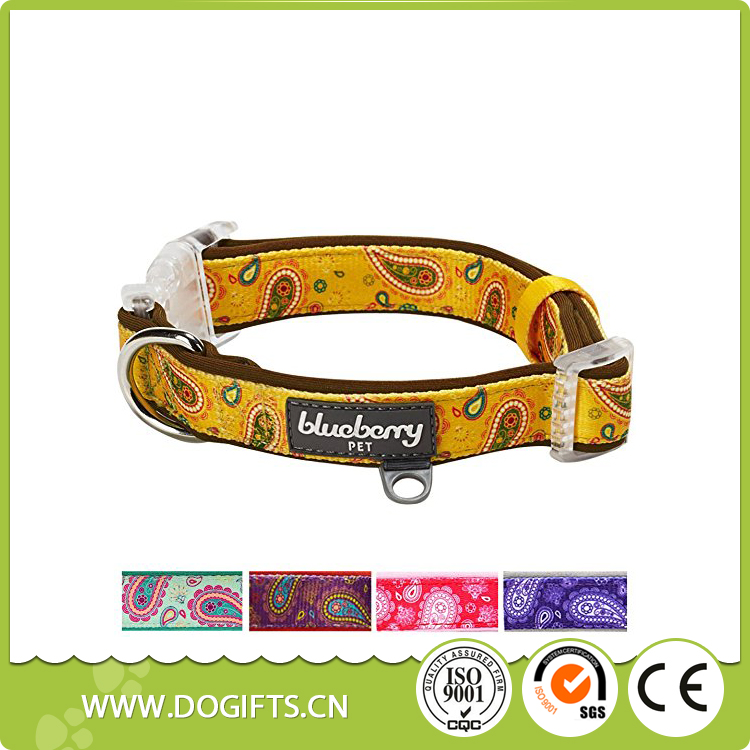 Blueberry Soft Comfortable Paisley Flower Print Padded Bow Tie Collar Available Separately Dog Leashes and Collars Dogift0810
