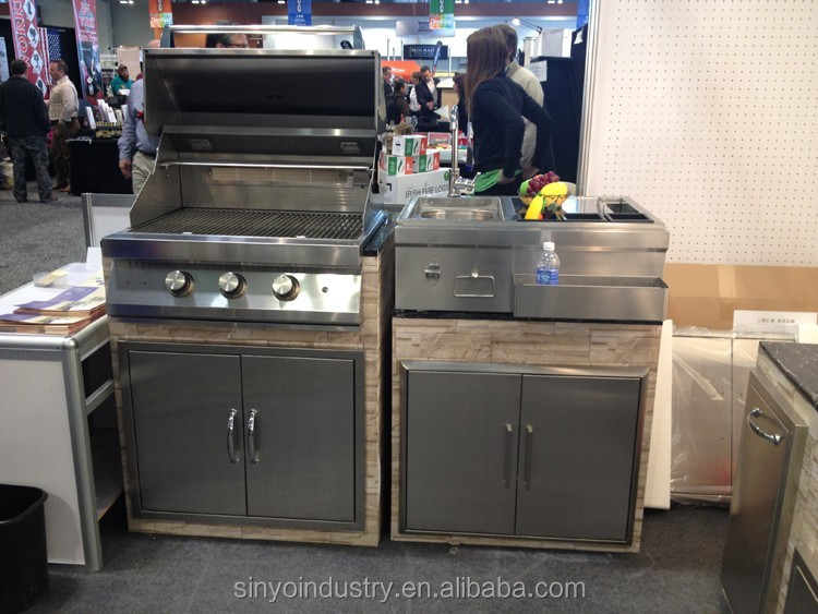 Stainless steel gas grill double door